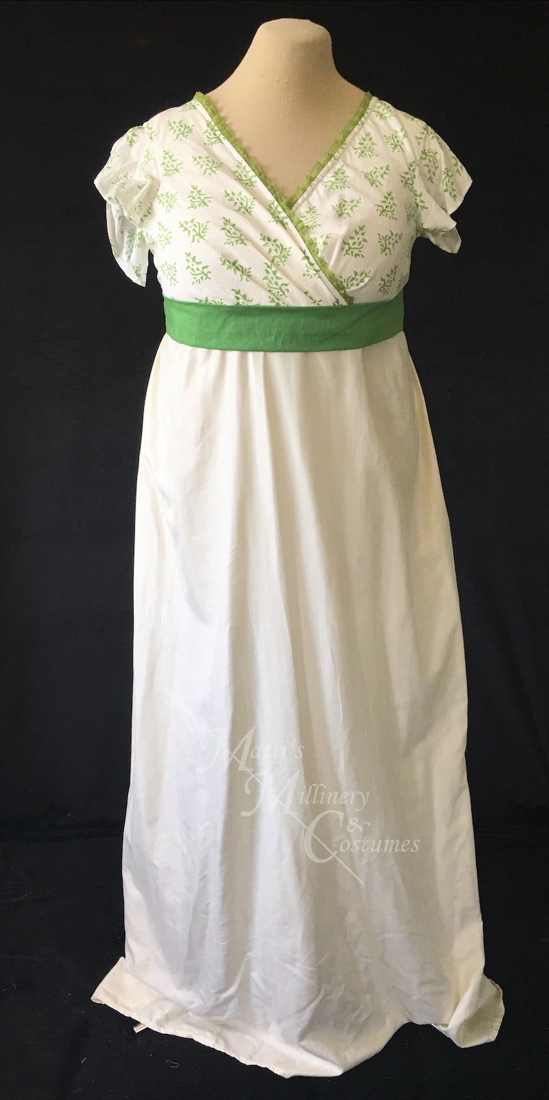 Green Illusion Block Print Cotton Regency Jane Austen Day Dress Gown