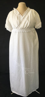 Load image into Gallery viewer, White Eyelet Cotton Jane Austen Regency Day Dress with crossover neckline