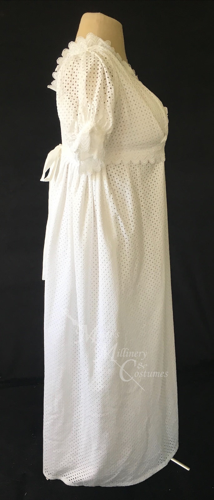 White Eyelet Cotton Jane Austen Regency Day Dress with crossover neckline