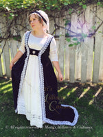 Load image into Gallery viewer, Navy Silver Velvet Regency Court Jane Austen Day Dress Open Robe Pelisse