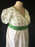 Load image into Gallery viewer, Green Illusion Block Print Cotton Regency Jane Austen Day Dress Gown