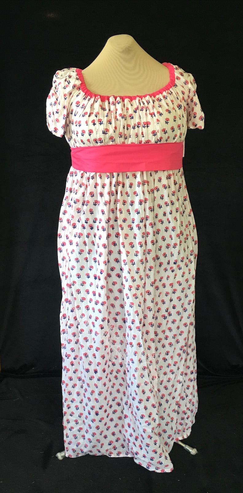 Pink Magic Block Print Cotton Jane Austen Regency Day Dress