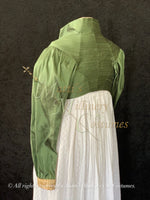 Load image into Gallery viewer, Green Gold Regency Jane Austen Day Dress Spencer Short Jacket Pelisse