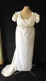 Load image into Gallery viewer, White Cotton Jane Austen Regency Drop Front Day Dress