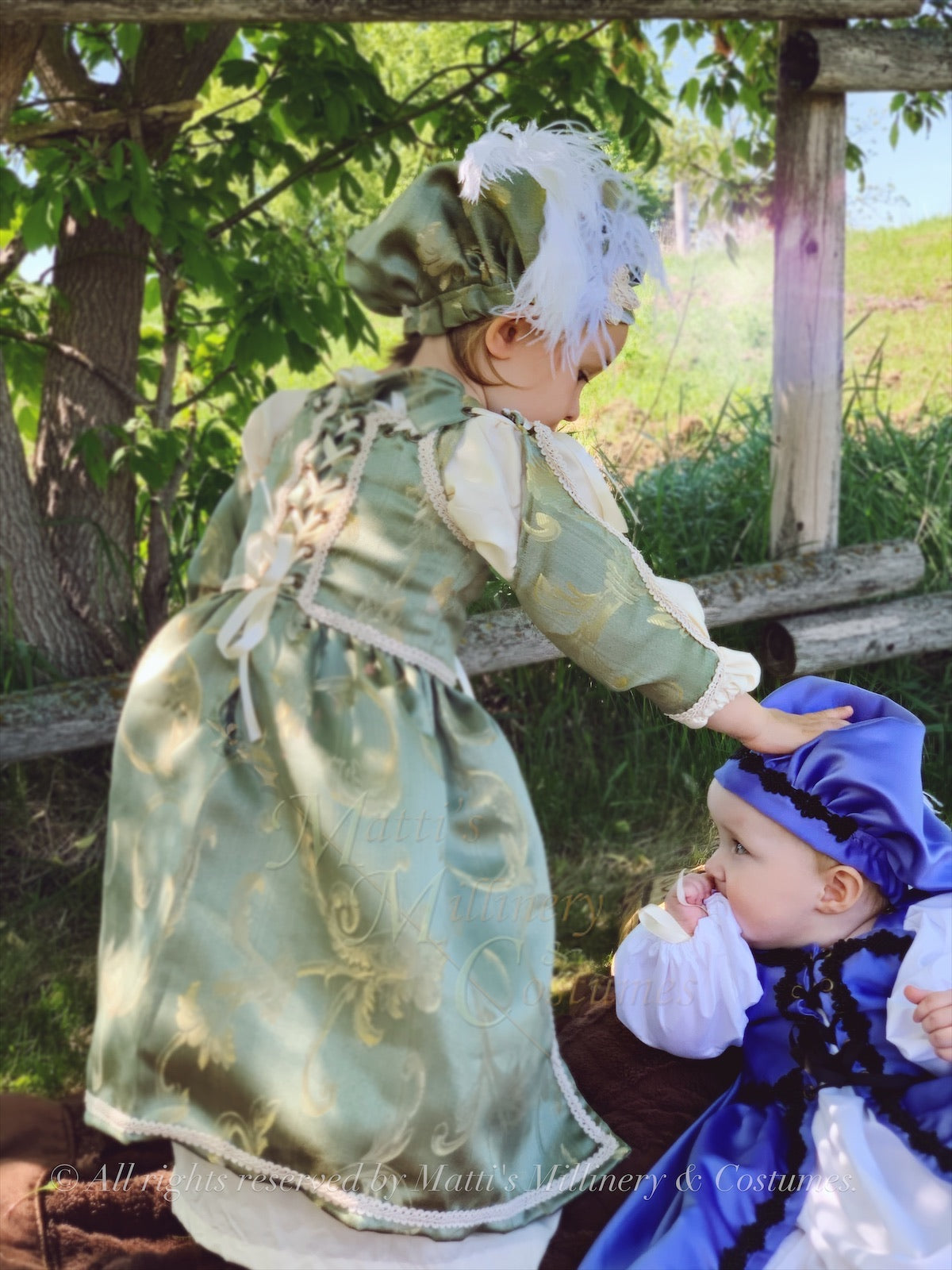 Childrens Renaissance Lil' Ren Medieval Renaissance Court Outfit with chemise, overdress and muffin cap CUSTOM size and color