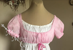 Pink Embroidered Weskit Regency Jane Austen Day Dress Spencer Short Jacket Vest Pelisse