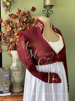 Load image into Gallery viewer, Elliot Burgundy Wool embroidered spencer Regency Jane Austen Day Dress Spencer Short Jacket Pelisse
