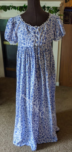 Blue Silver Print Cotton Jane Austen Regency Day Dress Gown