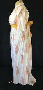 Load image into Gallery viewer, Pumpkin Danish Block Print Cotton Jane Austen Regency Day Dress Gown