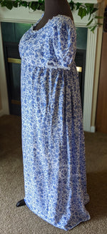 Load image into Gallery viewer, Blue Silver Print Cotton Jane Austen Regency Day Dress Gown