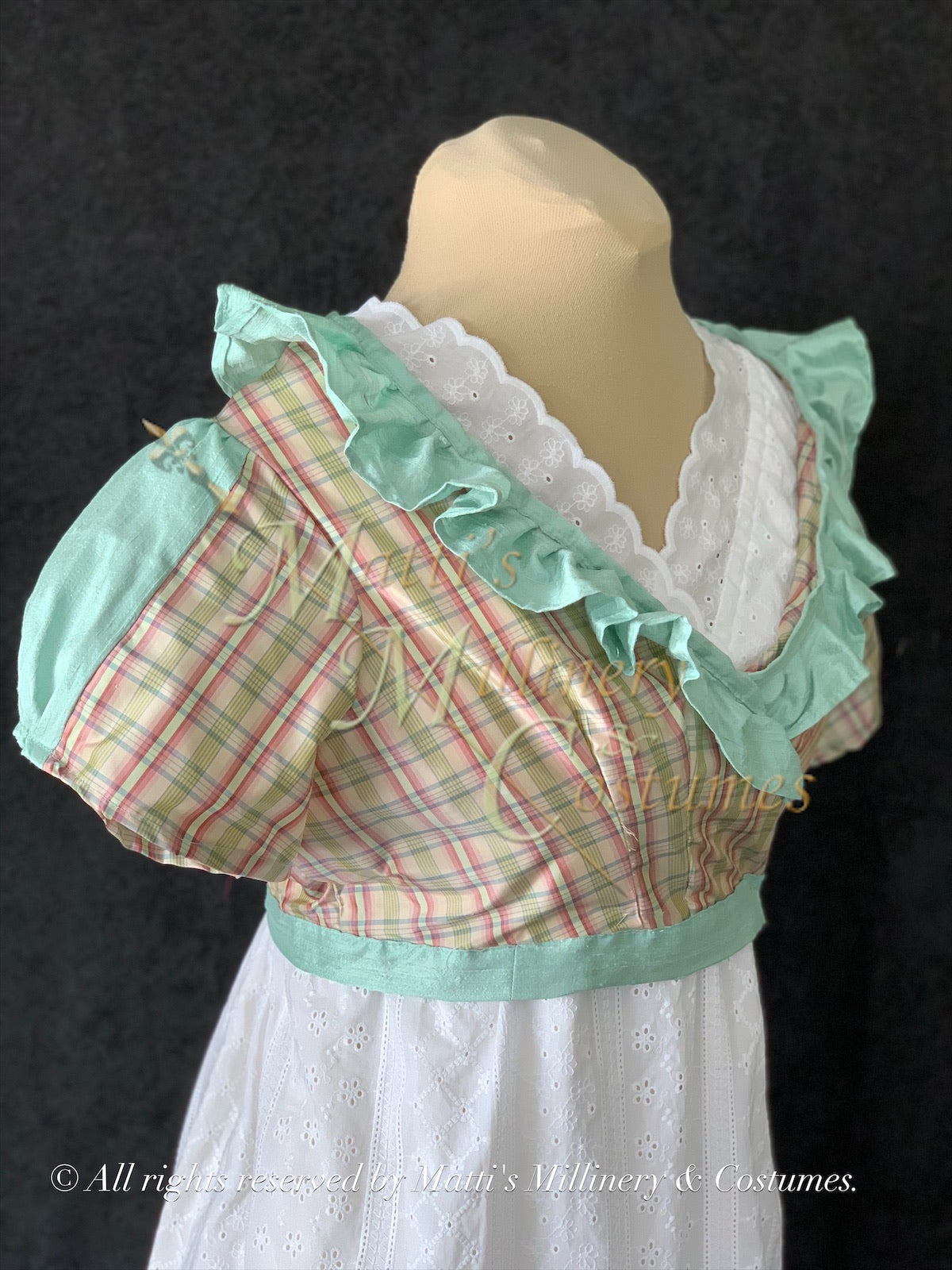 Plaid Crossover Regency Jane Austen Day Dress Spencer Short Jacket Pelisse