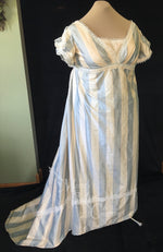 Load image into Gallery viewer, Blue Ivory Plus Size Regency Jane Austen Ball Gown Evening Dress in silk dupioni