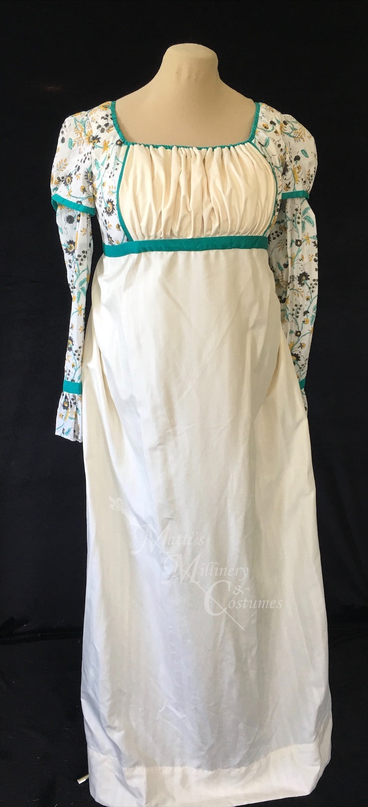 Teal Madeline Block Print Cotton Jane Austen Regency Day Dress Gown