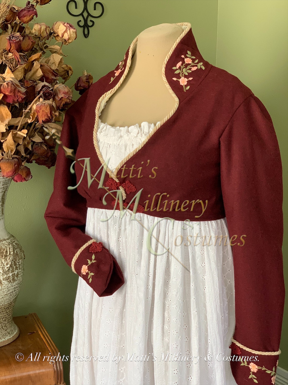 Elliot Burgundy Wool embroidered spencer Regency Jane Austen Day Dress Spencer Short Jacket Pelisse