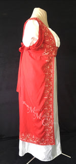 Load image into Gallery viewer, Madeline Regency Ball Dress in red silk embroidered sari and ivory satin