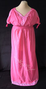 Load image into Gallery viewer, Fuchsia Pink Cotton Jane Austen Regency Drop Front Day Dress
