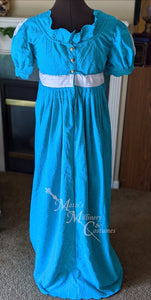 Embroidered Eyelet Cotton Jane Austen Regency Day Dress Gown