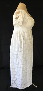 Load image into Gallery viewer, Daisy White Elegant Eyelet Cotton Regency Jane Austen Day Dress Gown