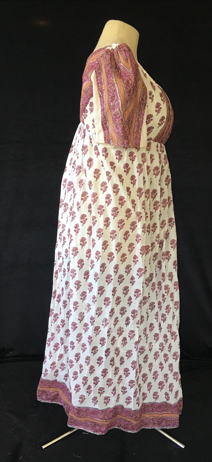Cotton Sari Regency Day Dress in Mauve Pink