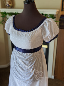 Blue White Elegant Eyelet Cotton Regency Jane Austen Day Dress Gown