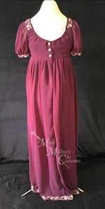 Wine Regency Jane Austen Ball Gown Evening Dress in sari silk