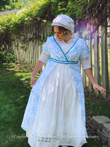 Teal White Regency Court Jane Austen Day Dress Open Robe Pelisse