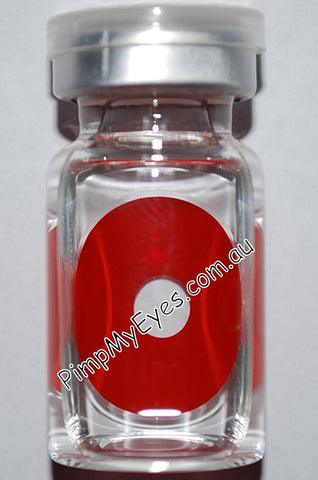Actual product in vial - Sclera Red Cyclop Contact Lenses
