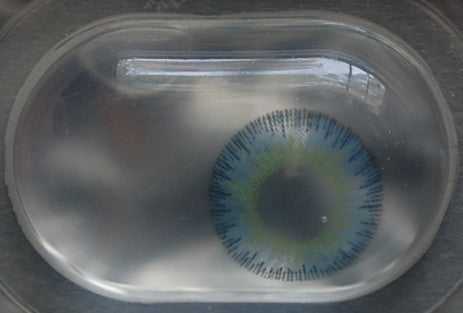 Actual product in Blister - Fusion Yellow Blue Colour Contact Lenses