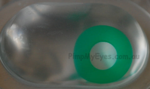 Actual product in Blister - Emerald Green Crazy Contact Lenses