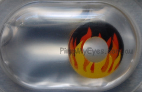 Actual product in Blister - Flame Hot Crazy Contact Lenses
