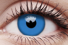 UV Glow Blue Crazy Contact Lens in Eye