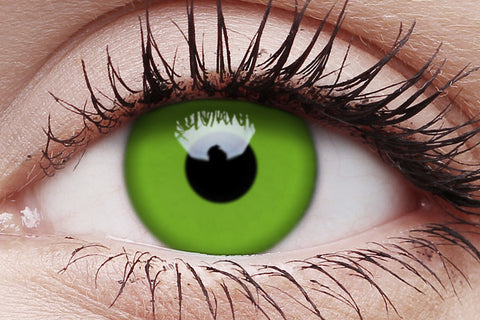UV Glow Green Crazy Contact Lens in Eye