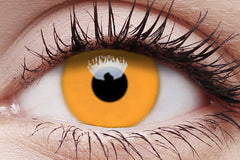 UV Glow Orange Crazy Contact Lens in Eye