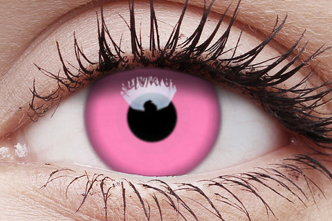 UV Glow Pink Crazy Contact Lens in Eye