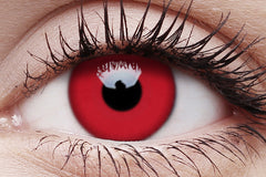 UV Glow Red Crazy Contact Lens in Eye