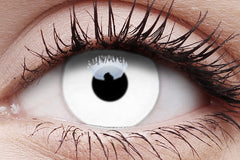 UV Glow White Crazy Contact Lens in Eye