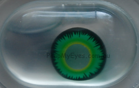 Actual product in Blister - Green Werewolf Crazy Contact Lenses