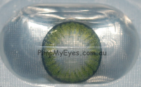 Actual product in Blister - Party Green Colour Contact Lenses