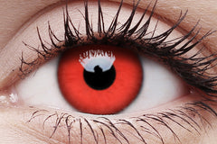 Red Devil Crazy Contact Lens in Eye