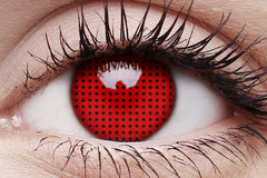 Red Screen Crazy Contact Lens in Eye