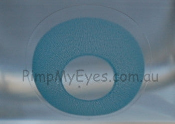 Actual product in Vial - UV Glow Blue Crazy Contact Lenses