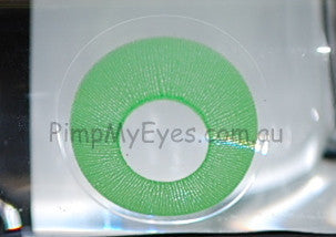 Actual product in Vial - UV Glow Green Crazy Contact Lenses