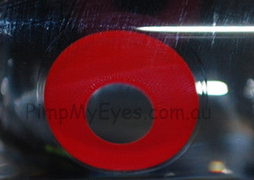 Actual product in Vial - UV Glow Red Crazy Contact Lenses
