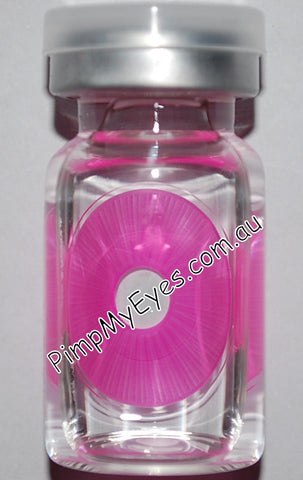Actual product in vial - Sclera UV Raiden Pink Contact Lenses