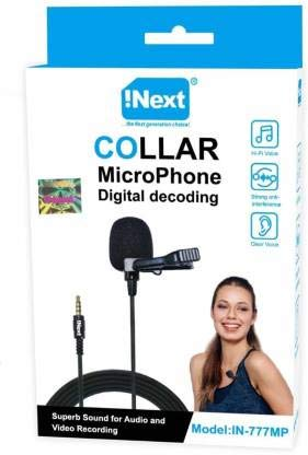 Inext in 777 MP 3.5mm Noise Cancellation Clip Microphone | Collar Mike for Voice Recording | Mic Mobile, PC, Laptop, Android Smartphones, DSLR Camera (Black)