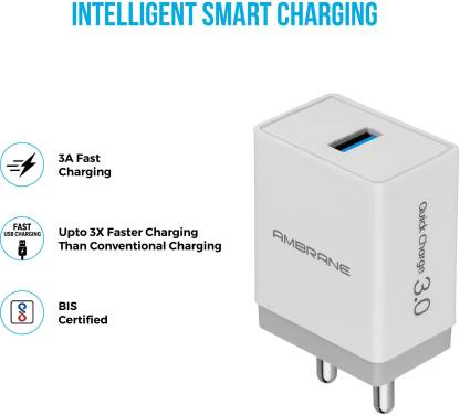 Ambrane AQC-56 3.0 Quick Charge 18 W 3 A Mobile Charger with Detachable Cable  (White, Cable Included)