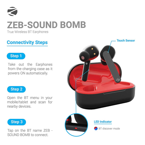 Zebronics Sound Bomb Supporting Bluetooth 5.0 TWS Earphones