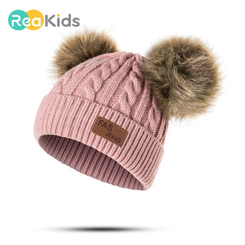 REAKIDS Beanies Baby Hat Pompon Winter Children Hat Knitted Cute Cap For Girls Boys