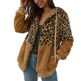 Winter Women Leopard Jacket Fleece Teddy Coat Long Sleeves Zipper