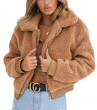 Winter Elegant Women Thick Teddy Bear Pocket Fleece Jacket Warm Coat